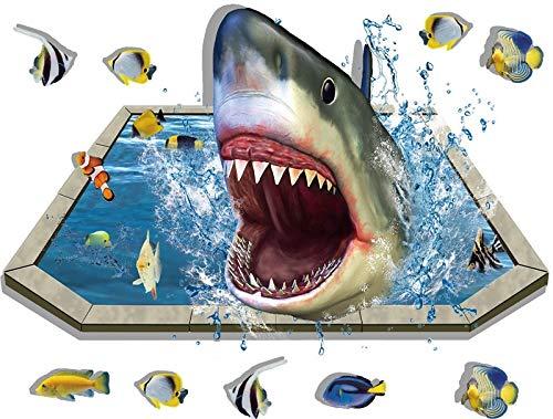 YIYEBAOFU Stickers muraux Chambre fille Efecto 3D Piscina tiburón extraíble Piso Pegatinas de Pared DIY decoración del hogar de los niños Sala de Estar Dormitorio Dormitorio Impermeable Arte 60x90cm