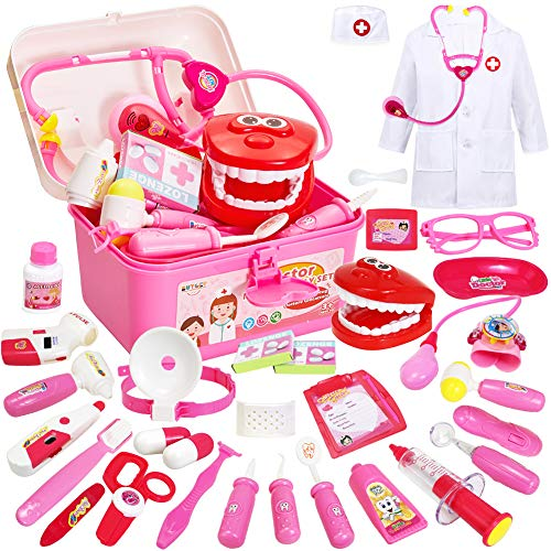 Buyger 35 Teile Arztkoffer Medizinisches Doktor Arztkittel Rollenspiel Spielzeug ab 3 Jahre Mädchen Junge Kinder Geschenke(Rosa)