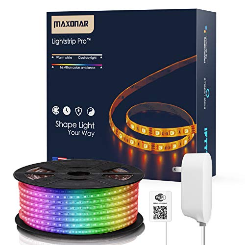 Maxonar LED Strip Lights Works with Alexa (16.4Ft/5M) WiFi Wireless Light Strips RGB Multicolor Waterproof IP65 Smart Phone Controlled DIY Kit Works with Amazon Echo Google Home Christmas Decoration