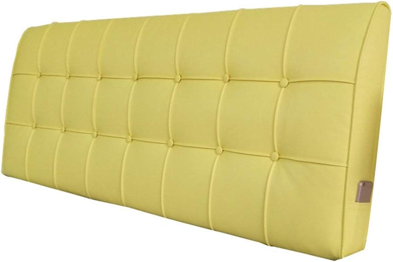 LSXLSD avec sans lit Soft Pack Double Lavable Libre Grand Oreiller Coussin de Lit Grande Couverture de Lit Arrière 3 Couleurs 5 Tailles (Couleur   jaune, Taille   90CM)
