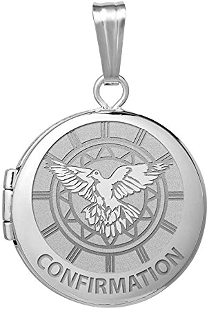 PicturesOnGold.com 14k White Gold Round Confirmation Holy Spirit Locket - 3/4 in X 3/4 in with Engraving
