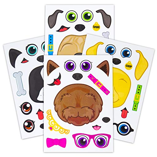 24 Make A Dog Stickers For Kids - Great For Birthday Party Favors - Fun Craft Project For Children 3+ - Let Your Kids Get Creative & Design Their Favorite Puppy Stickers