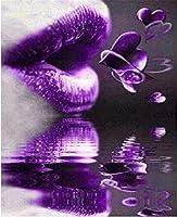 ダイヤモンドペインティング フルドリル 紫の唇のハート 大人用5D DIYキットダイヤモンドの絵画のためのラインストーン結晶描画ギフトクロスステッチ 刺繍キット モザイクアート ハンドメイド家の壁の装飾Square Drill,60x80cm