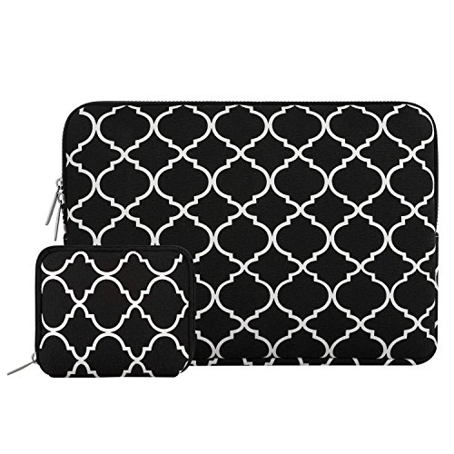 MOSISO Tasche Sleeve Hülle Kompatibel mit 13-13,3 Zoll MacBook Pro, MacBook Air, Notebook Computer Canvas Geometrisch Muster Laptophülle Laptoptasche mit Klein Fall, Schwarz Vierpass