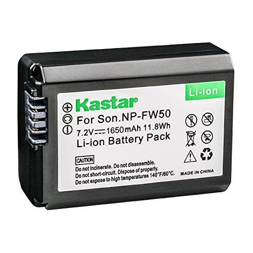 Bateria Kastar (pacote com 1) para Sony NP-FW50, BC-VW1, BC-TRW funciona com Sony Alpha 7, a7, Alpha 7R, a7R, Alpha a3000, Alpha a5000, Alpha a6000, NEX-3, NEX-3N, NEX-5, NEX-5N, NEX-5R, NEX-5T, NEX-5T, NEX-6, NEX-7, NEX-7, NEX-6, NEX-7, NEX-C3, NEX-F3, SLT-A33, SLT-A35, SLT-A37, SLT-A55V, Cyber-shot DSC-RX10