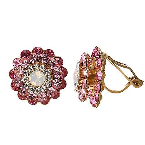 Yoursfs, orecchini a clip a forma di rosa nera, senza buco, placcati in oro 18 carati e Base in metallo placcato oro rosa 18 K., colore: Cristallo rosso., cod. Earring1007Y2