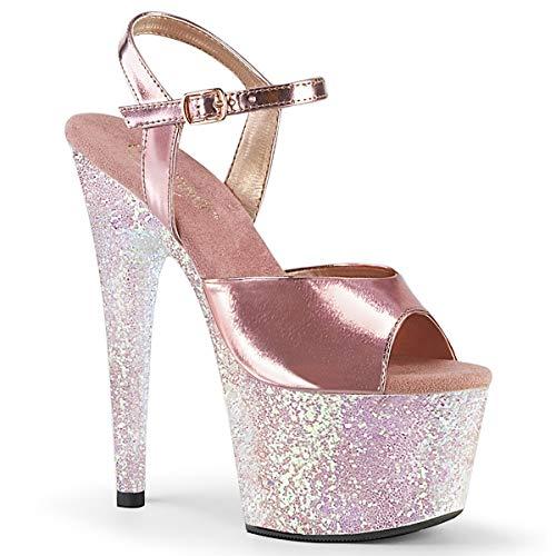 Pleaser ADORE-709LG Damen Plateau High Heels, Glitter/PU Opal Rosa, EU 36 (US 6)