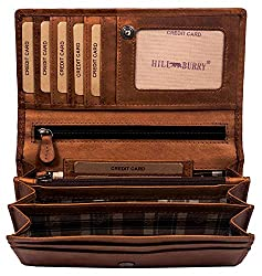 Hill Burry high quality wallet made of soft vintage leather - long wallet - credit card holder - RFID (brown)