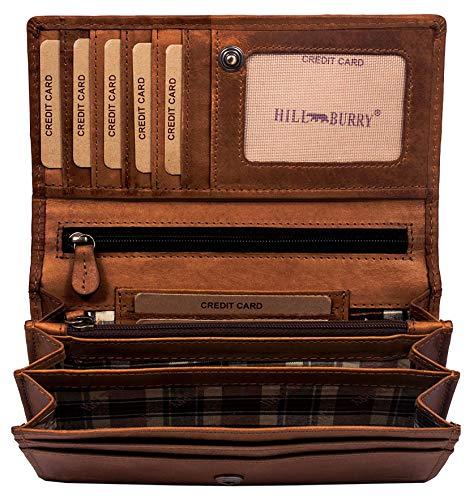 Hill Burry hochwertige Geldbörse | aus weichem Vintage Leder - Langes Portemonnaie - Kreditkartenetui - RFID (Braun)