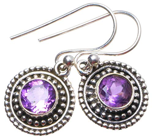 925er Sterling Silber Amethyst Einzigartig Handgefertigt Ohrringe 2,54cm Purple X3634