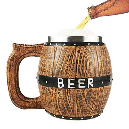 Taza de cerveza de madera, hecha a mano, taza de cerveza vintage, taza de cerveza natural, con asa, diseño retro de gran capacidad, ideas de regalo clásicas