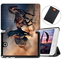 MAITTAO Slim Smart Case For Galaxy Tab A 8.0 Model SM-T350/T355/P350/P355, Folio Shell Case Stand Cover for Samsung Galaxy Tab A 8.0 Inch 2015 Tablet Sleeve Bag 2 in 1 Bundle, Akhal-Teke Horse 11
