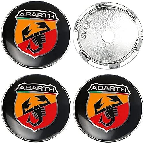 4 Piezas Tapas Centrales para Fiat Abarth Punto 124/125/125/500 stilo ducato, 60mm, Coche Llanta Rueda Cubre Embellecedor Insignia, Emblema Logo Accesorios