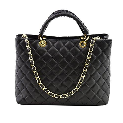 Dream Leather Bags Made in Italy toskanische echte Ledertaschen Echtes Leder Gestepptes Handtasche Farbe Schwarz - Italienische Lederwaren - Damentasche