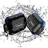 Waterproof Airpod Pro Case,Waterproof Up to 3 Feet,PC+TPU Material,Compatible Wireless Charging for Airpods Pro Case,Case Waterproof with Keychain(Opacity Black&Blue)