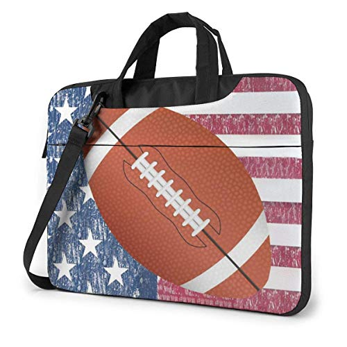American Flag Football Laptop Bag Compatible Laptop Carrying Shoulder Handbag Briefcase With Strap,