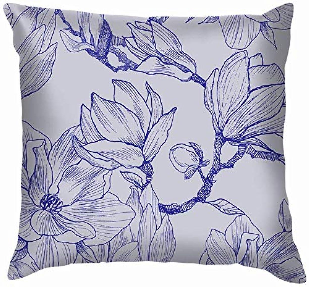 望みエクスタシージャムインク鉛筆の葉花マグノリア自然ラインスロー枕カバーホームソファクッションカバー枕ギフト45x45 cm