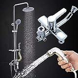 Gnailur 1 set Bathroom Lluefall Ducha Faucet Set Mixer Tap con el rociador de la mano conjuntos de ducha de baño montado en la pared con un mango único con estante