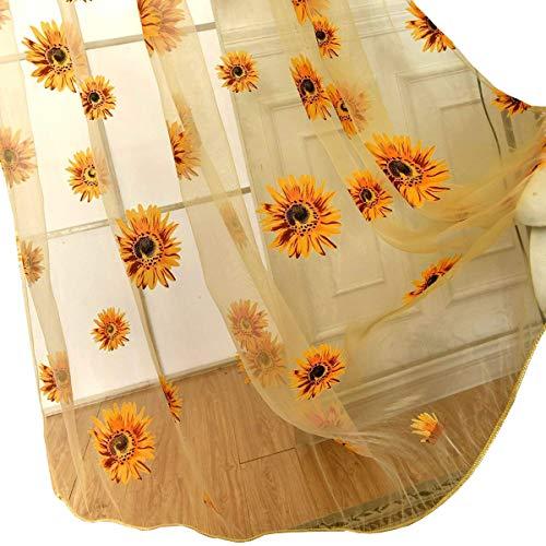 BROSHAN Voile Window Room Curtain Yellow, Elegant Flower Sheer Curtain Panels for Living Room Bedroom Window Treatment Semi Sheer Rod Pocket, 1 Panel