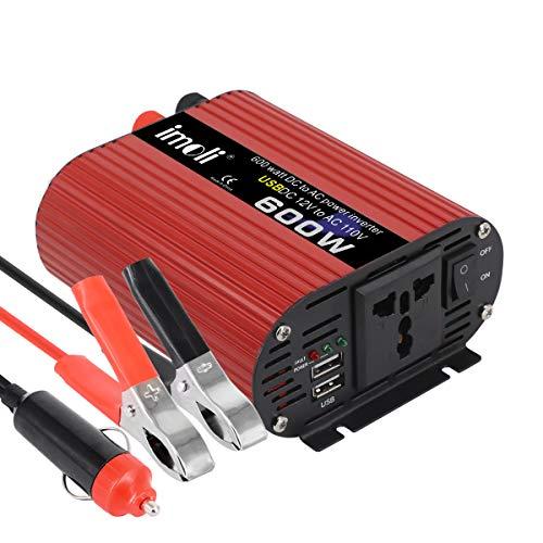 600W Wechselrichter, imoli Auto Spannungswandler Spitzenleistung 1200W Dual USB Ports AC 1 AC Steckdose mit Zigarettenanzünder Modifizierter Sinus DC 12V zu AC 220V Transforme
