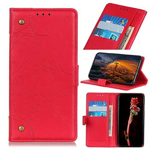 Funda protectora, Caballo Loco for Motorola Moto E6 Plus hebilla de cobre retro textura horizontal del cuero del tirón con el sostenedor y ranuras for tarjetas y monedero (Negro) ( Color : Red )