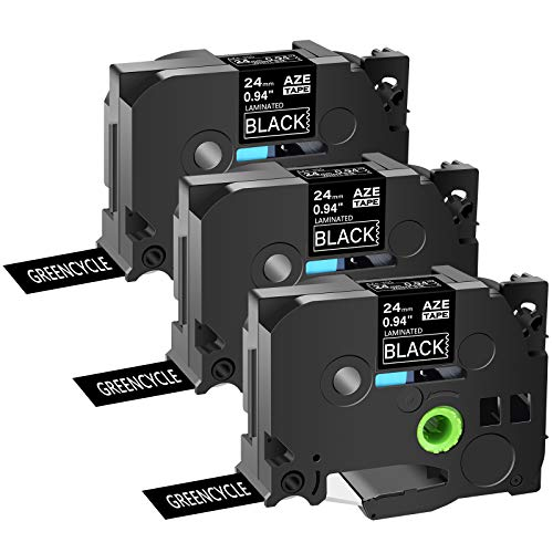 """GREENCYCLE 3 Pack TZe-355 TZ355 AZE 355 TZE 355 TZ355 Compatible for Brother Laminated Label Tape White on Black 24 mm x 8 m 1"""" 26.2ft for P-Touch PT2430PC PT-P700 PT-P750W Label Makers"""