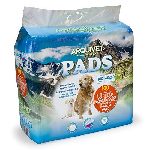 Arquivet Pads 100 uds para Perros súper absorbentes - Pack Ultra ECONÓMICO - Empapadores higiénicos educativos para Perros - Empapadores Desechables - Alfombrilla higiénica para Perros - 60 x 60 cm