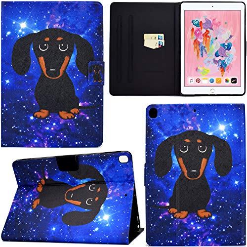 DodoBuy Case for iPad 10.2'/iPad Pro 10.5/iPad Air 10.5, PU Leather Flip Smart Cover Thin Wallet Bag Holder Stand with Card Slots Magnetic Closure - Black Dog