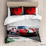 Juegos de ropa de cama con patrón motociclista para hombre Cool Locomotive Formula One Cars Juego de funda nórdica para niños Funda de colcha temática deportiva aire libre,Racing 04,Double