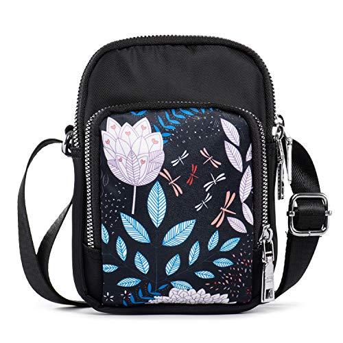 LaRechor Piccola Borsa Tracolla per Telefono Mini Piccola Borsa Porta Cellulare da Donna Crossbody Bag in Nylon