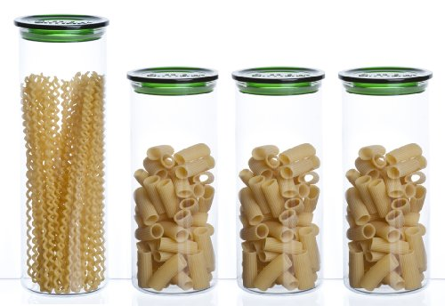 Bohemia Cristal 093 006 094 SIMAX Vorratsgläser aus hitzebeständigem Borosilikatglas 4er Set (1 Stück ca. 2,0 ltr. / 3 Stück ca. 1,5 ltr.) mit Kunststoffdeckel grün