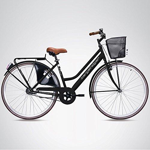 Bergsteiger Amsterdam 28 Zoll Damenfahrrad, ab 150 cm, Korb, Fahrrad-Licht, Damen-Citybike mit Rücktrittbremse, Hollandrad im Retro-Design - 3