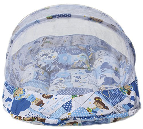 Amardeep and Co Baby Mattress with Mosquito Net (Blue) - MT-02-Blu-Collage
