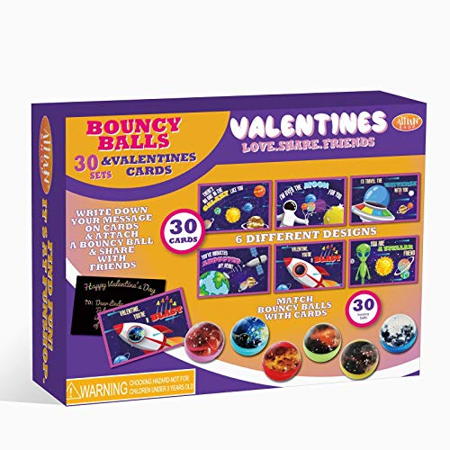 ATFUNSHOP Valentines Day Cards Coloring Cards + Bouncy Balls(Space)