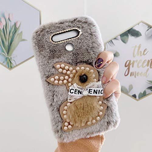 yhy G5 ThinQ Mobile Phone Case Fashion Style New Cute 3D Cute Pearl Rabbit Plush For LG G5 ThinQ Brown