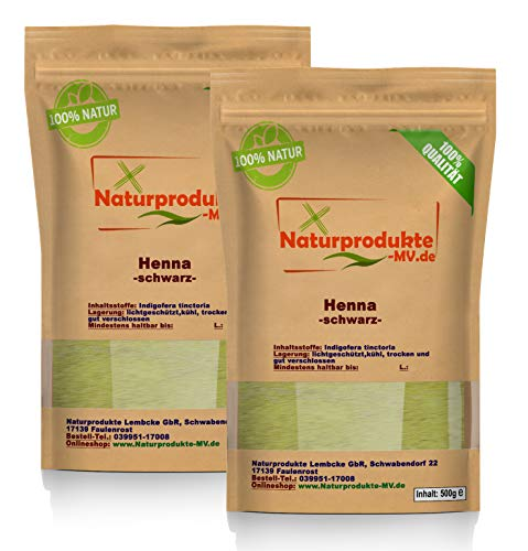 Henna Pulver schwarz (2x 500 g) Hennapulver Haarfarbe natürliche Haarpflege 1000 g 1kg