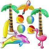 aovowog 10 PCS Inflables Palmeras Flamingo Juguetes Inflables Banana Bolas de Playa Volando Loro Delfín para la Decoración del Partido Playa