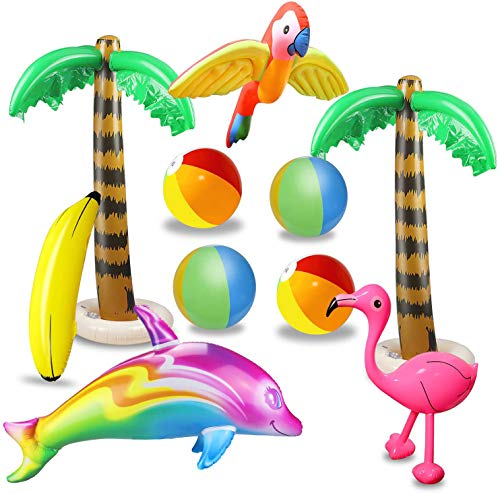 aovowog 10 Stücke Aufblasbare Palmen Flamingo Spielzeug Aufblasbare Bananenstrandbälle Fliegen Papagei Delphin für Hawaii Party Luau Party Decor Strand Hintergrund