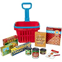 Melissa & Doug Fill & Roll Grocery Basket Play Set (Play Food, Durable Construction, 11Piece, Frustration-Free Packaging)