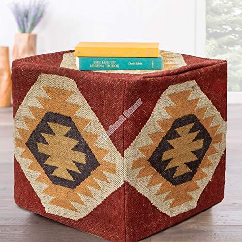 Handicraft Bazarr Reposapiés otomano cubierta de yute para dormitorio sentado mesa cubierta de lana 45,72 cm hecha a mano puf Kilim otomano triangular, vintage, rústico, de lana y yute