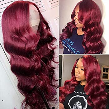 West Kiss Body 99j Lace Closure Wigs Human Hair 150% Density Burgundy Brazilian 4x4 Closure Front Wig Pre Plucked With Baby Hair For Black Women  18 inch Light 99j