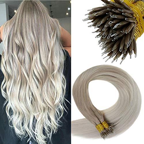 LaaVoo 20 Zoll Remi Hair Extensions Microring Brasilian Naturlich Nano Tips Balayage Aschblond Ombre Platinblond #18/60 Glatt Micro Nanoring Echthaar Bondings Total 50 Gramm