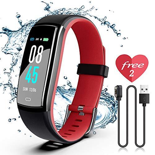 JAZIPO Fitness Armband mit Pulsmesser, Wasserdicht IP71 Fitness Tracker, Smartwatch GPS Aktivitätstracker, Vibrationsalarm Anruf/SMS, für Damen Männer
