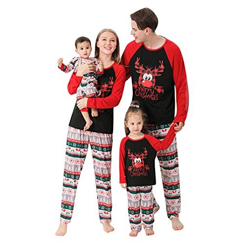 Weihnachts Schlafanzug Family Nachtwäsche Sets Pyjama Elk Karierte passende Nachtwäsche Pyjamas PJs Set für Damen Vater Mutter Baby Kinder Junge Mädchen Sleepwear