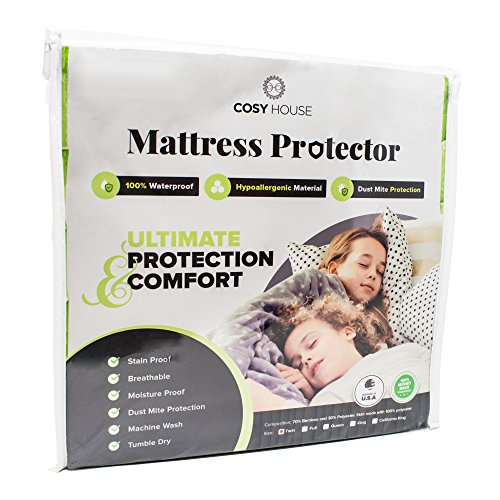 Twin Size Luxury Bamboo Hypoallergenic Waterproof Mattress Protector - Breathable Noiseless Fitted Bed Cover Stays Cool - Protection Against Stains, Fluids, Dust Mites, Allergens, Bacteria