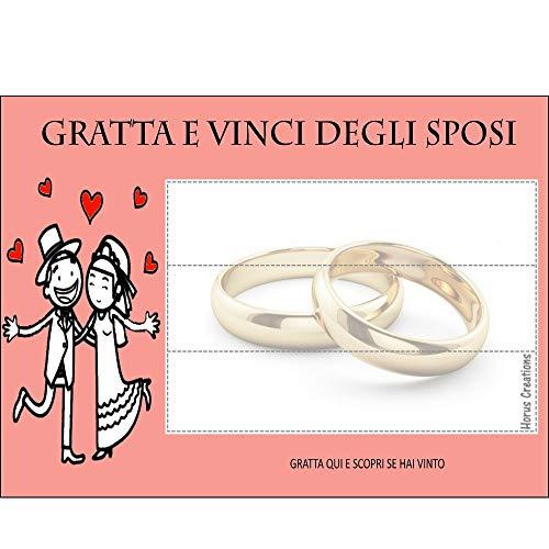Gratta E Vinci Matrimonio Horus Creations - 25 Gratta E Vinci Da Personalizzare - Consegnalo Ai Tuoi Ospiti - Rendi Divertente E Originale Il Tuo Matrimonio - Gratta E Vinci Degli Sposi (Rosso)