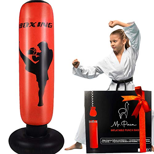 Inflatable Punching Bag For Kids and Adults - Our Free Standing Punch Bag is a Great Indoor and Outdoor Workout Equipment for Kickboxing, Karate, Taekwondo, Overall Fitness and a Fun Toy for Kids