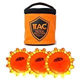 1TAC 3 Pack LED Road Flare Emergency Lights Roadside Safety Beacon Disc Flashing Warning Flare Kit With Zip Pouch Magnetic Base Utility Hook For Car Truck Boats | Waterproof Crush Proof
