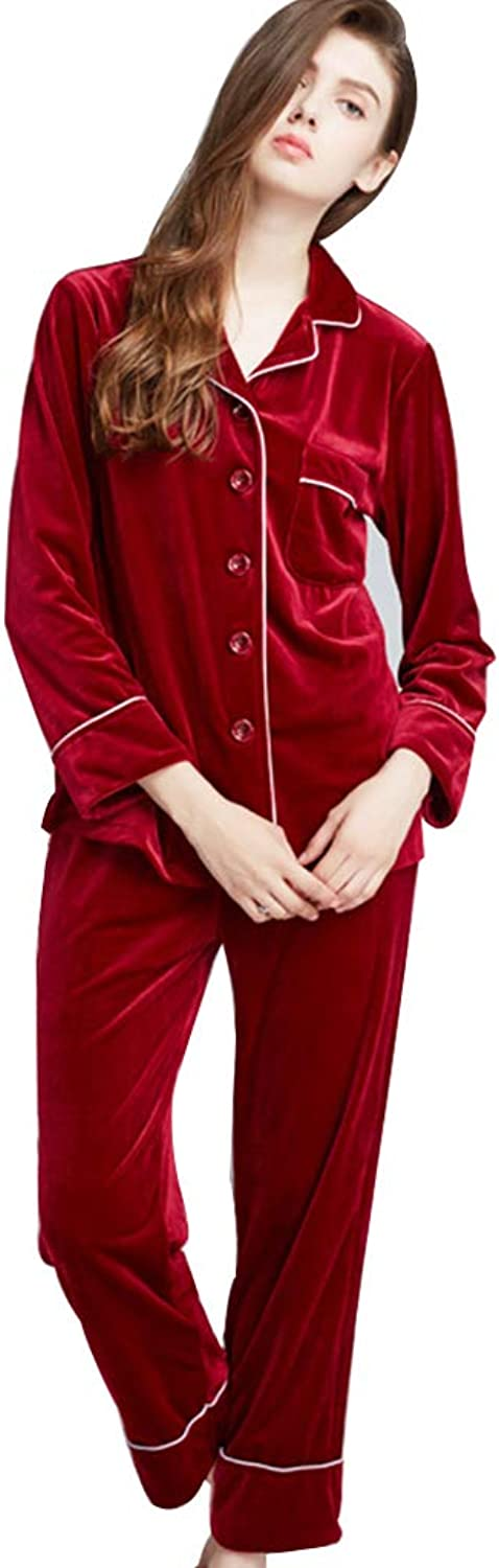 Sleepwear Women's Fall Winter Pajama Set Winter Red Pajamas Warm Women's Long Sleeve Pajamas Comfortable Home Clothing (color   Red, Size   XL)