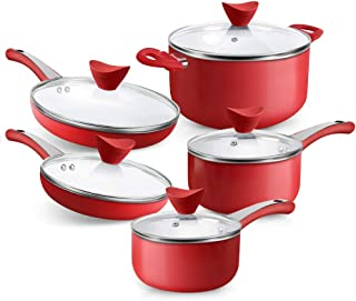 SHINEURI 10 Pieces Nonstick Pots and Pans Set - Ceramic Cookware Set with Stay Cool Handle & Lid Cookware for Induction, G...